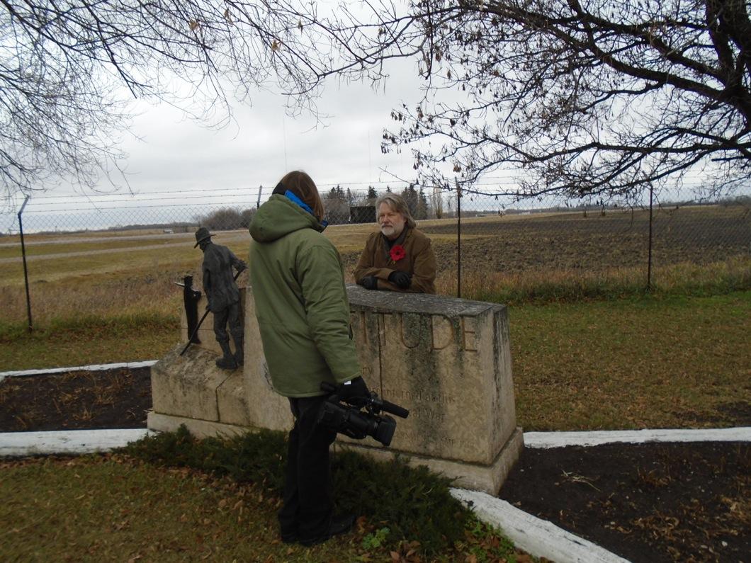 Prof. Kordan and Ryan Boyko, director, on film location at the Eaton Internment Memorial site.