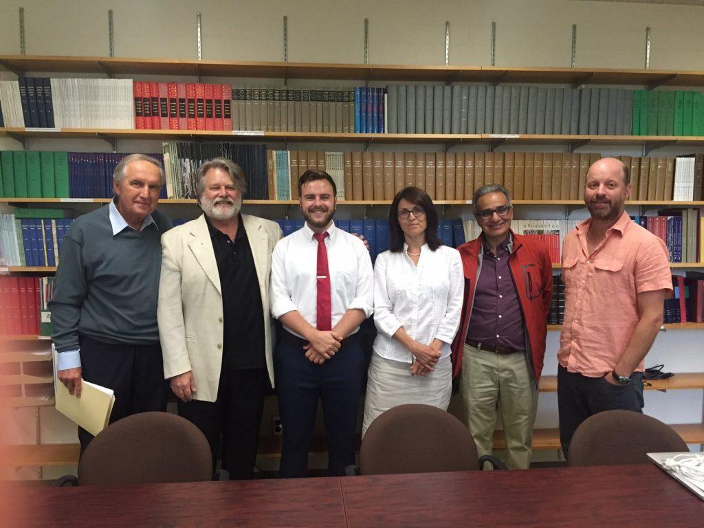 Leland MacLachlan MA Thesis Committee (left to right): Roy Romanow (member); Bohdan Kordan (supervisor); Leland MacLachlan (candidate); Natalia Khanenko-Friesen (external member); Joe Garcea (member); Neil Hibbert (chair)